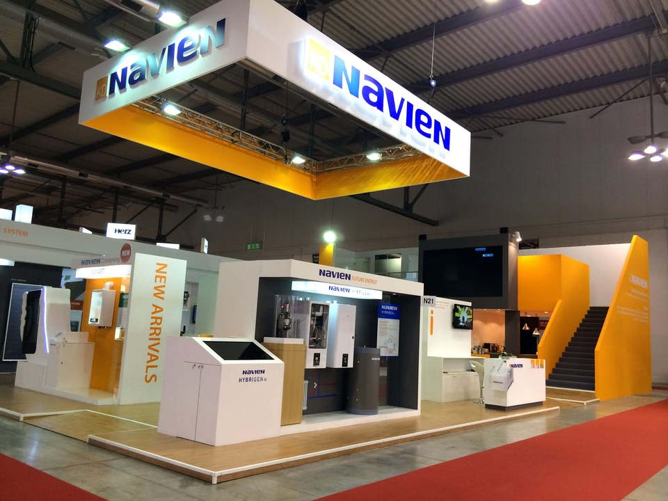 Navien two-story trade show exhibit designed by BTWN Exhibits.