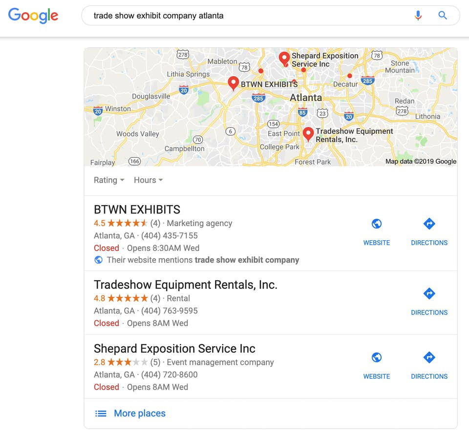 "Google search results for the search term ""trade show exhibit company Atlanta."""