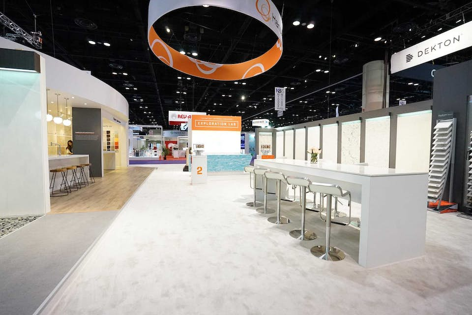 Hanwha Surfaces custom trade show exhibit designed by BTWN Exhibits.