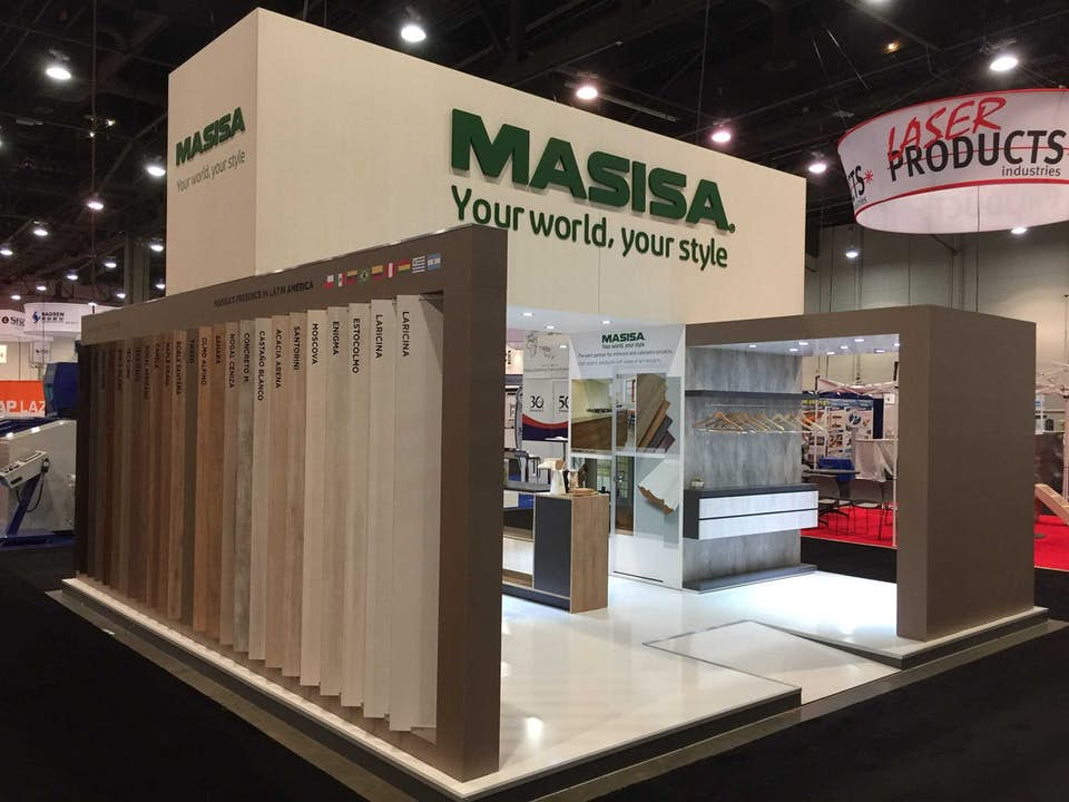 Masisa custom trade show display product wall designed by BTWN Exhibits.