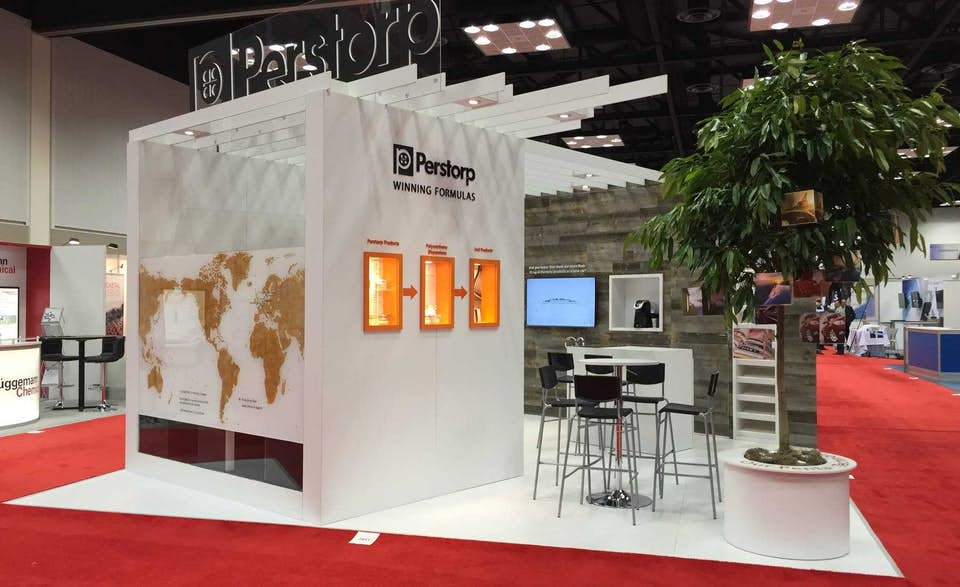 Perstorp trade show booth designed by trade show exhibit company BTWN Exhibits.